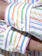 multicoloured cotton nehru-collar shirt