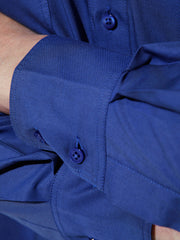 nehru-collar shirt in royal blue cotton twill