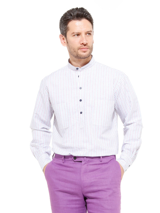 nehru-collar shirt in linen and cotton canvas with stripes