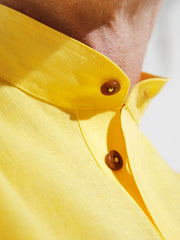 nehru-collar shirt in yellow pure linen canvas