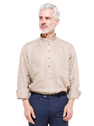 nehru-collar shirt in honey-coloured pure linen canvas