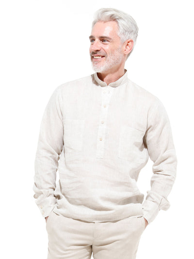 nehru-collar shirt in putty-coloured pure linen canvas