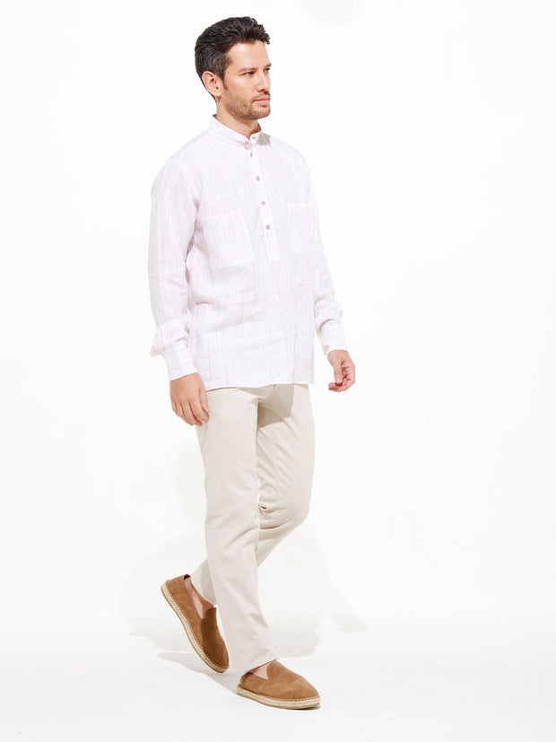nehru-collar shirt in pink bayadère pure linen