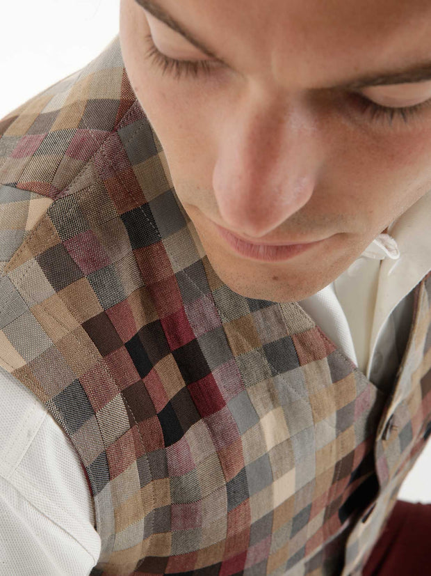 """anni albers"" linen and cotton checked jacquard patch-pocket waistcoat"