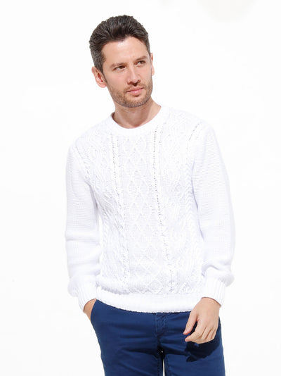 "pull col rond ""patented aran pattern"" en coton blanc inis meáin"