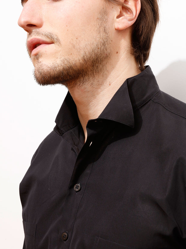 luxurious black poplin quat'z'arts shirt