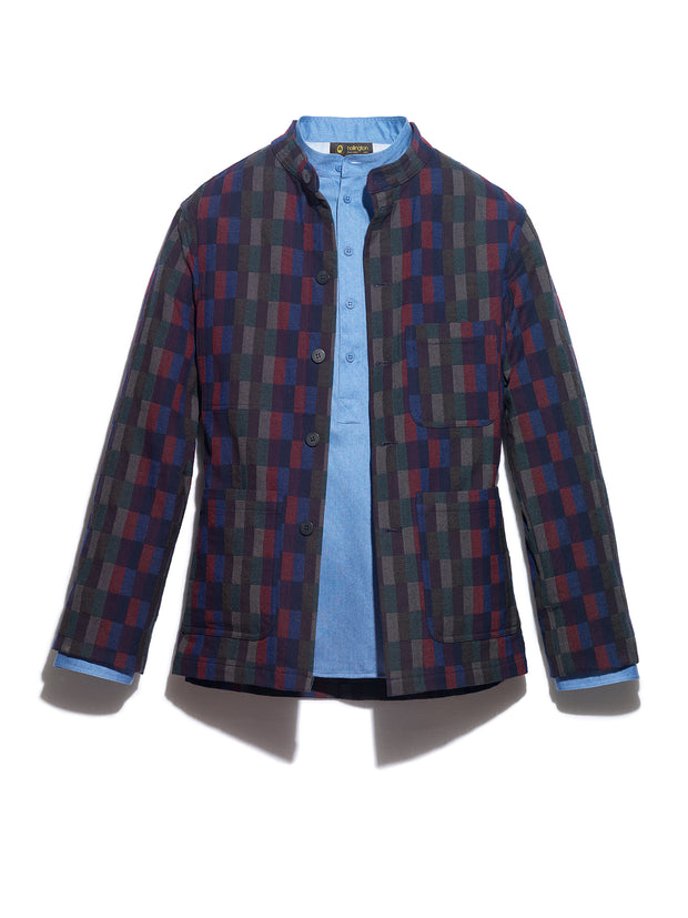 Anni Albers wool and cotton checked jacquard naipaul mao-collar jacket