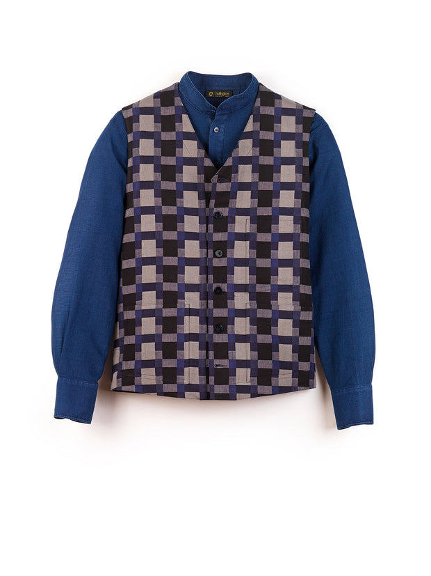 "blue-grey ""anni albers"" linen and cotton jacquard patch-pocket waistcoat"