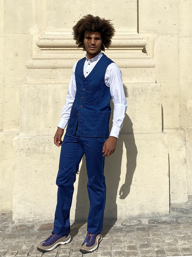 indigo summer denim 20-pocket waistcoat