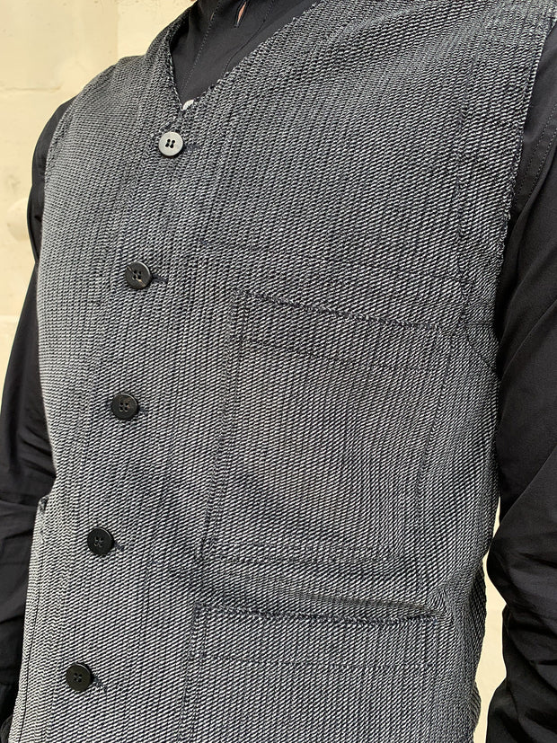 stretch velvet with fine stripes patch-pocket waistcoat