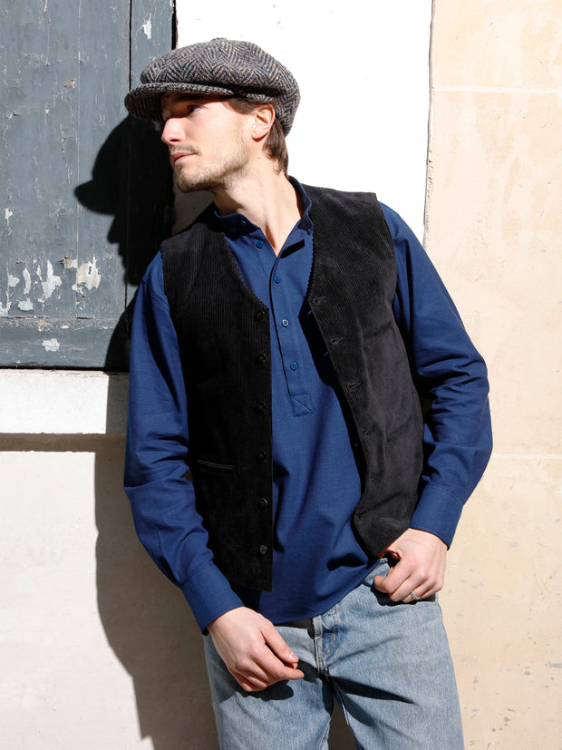 black corduroy with large ribs piped-pocket waistcoat