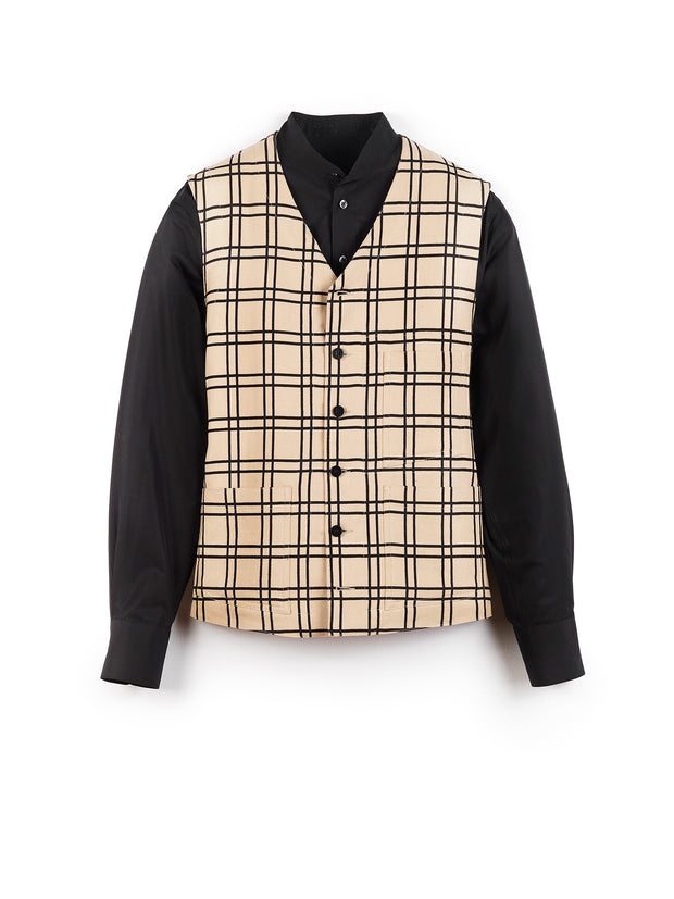 """anni albers"" linen and cotton tartan jacquard patch-pocket waistcoat"