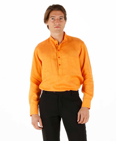nehru-collar shirt in orange pure linen canvas