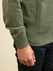 green lambswool zipped cardigan