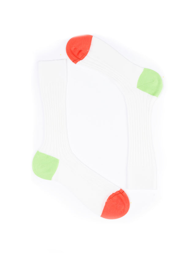 contrast heel and toe white cotton socks