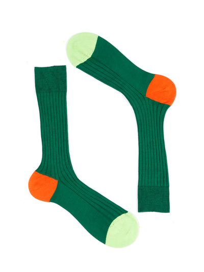 contrast heel and toe green cotton socks