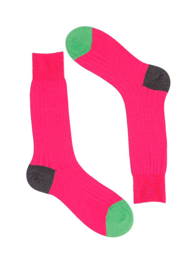 contrast heel and toe merino wool magenta socks