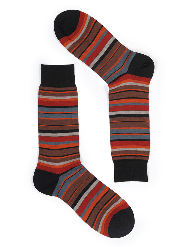 brick red stripes merino wool socks