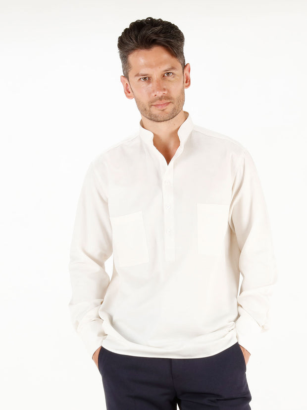 nehru-collar shirt in unbleached wool-and-cotton cloth