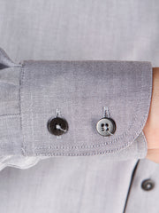 charcoal cotton nehru-collar shirt