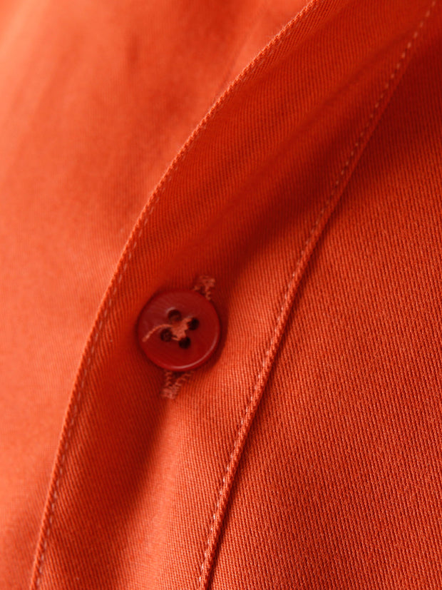 copper poplin nehru-collar shirt