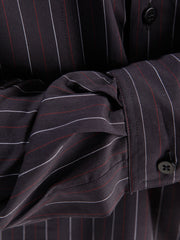 nehru-collar shirt in black canvas with fine stripes