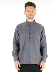 nehru-collar shirt in blue grey cotton with saffron stripes