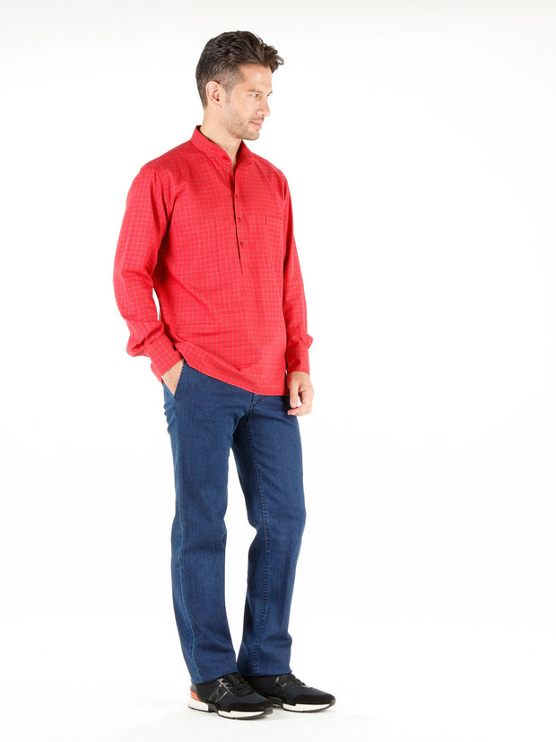 nehru-collar shirt in red checked cotton