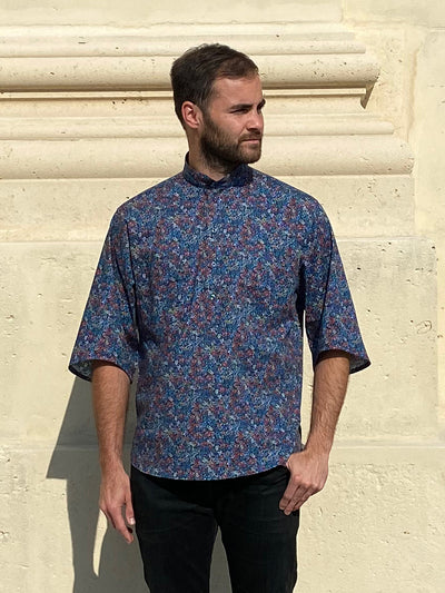 deauville short sleeve mao-collar shirt in stretch-cotton with a flower pattern