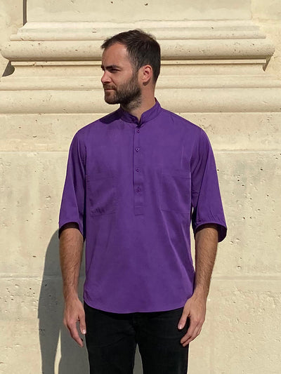 deauville short sleeve mao-collar shirt in purple lyocell