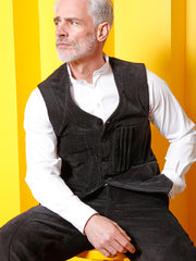 black corduroy with large ribs 20-pocket waistcoat