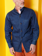 indigo stretch denim mao-collar shirt jacket