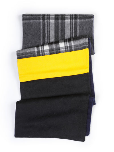 écharpe begg & co en lambswool et angora 'charcoal check'