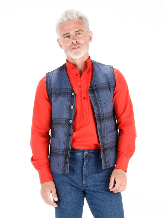 blue chequered wool cloth patch-pocket waistcoat