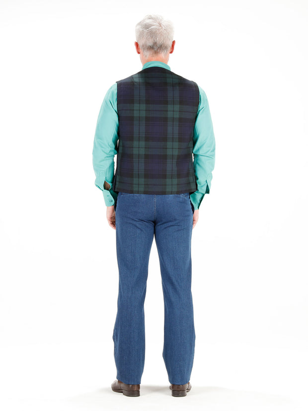 navy double-faced woollen cloth patch-pocket waistcoat