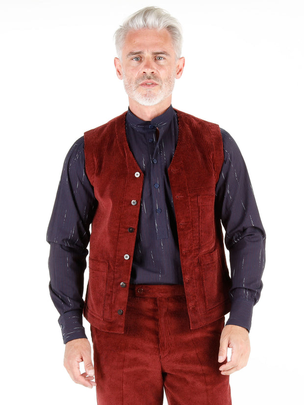 wine-red cordoroy wool cloth patch-pocket waistcoat