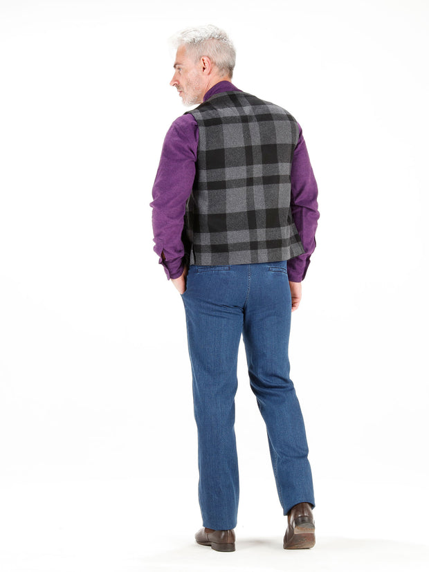grey chequered wool cloth patch-pocket waistcoat