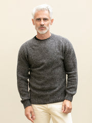 charcoal donegal merino wool round collar jumper