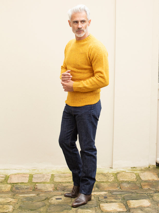saffron donegal merino wool round collar jumper