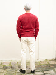 red donegal merino wool round collar jumper