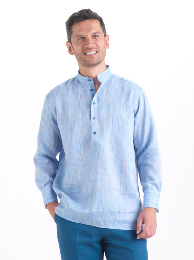 nehru-collar shirt in blue bayadère pure linen