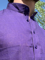 purple on lime double-sided linen nehru-collar shirt