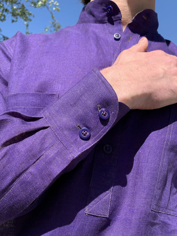 chemise col nehru lin double-face purple on lime