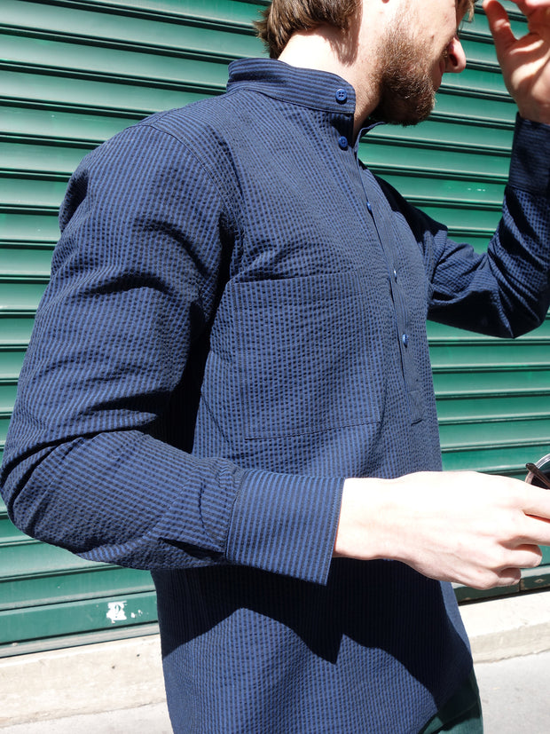 navy blue seersucker nehru-collar shirt