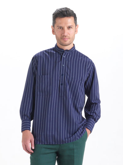 nehru-collar shirt in pinstripe tencel®