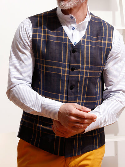 prince of wales pure linen canvas patch-pocket waistcoat