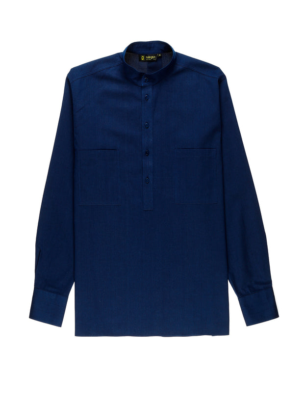striped indigo nehru-collar shirt