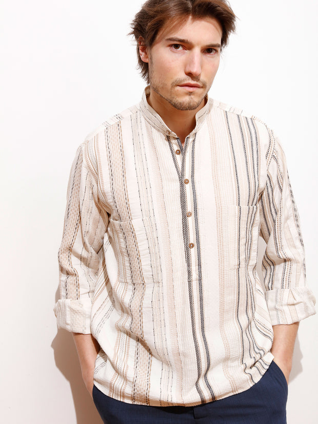 ethnic canvas with mahogany stripes nehru-collar shirt