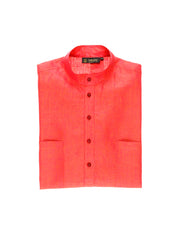 blood orange pure linen canvas nehru-collar shirt