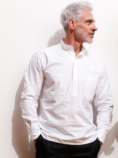 white seersucker nehru-collar shirt